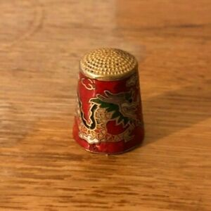 Chinese Brass Enamelled Dragon Thimble Red Blue