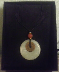 Vintage National Geographic Chinese Jade Green Bi Disc Pendant Necklace