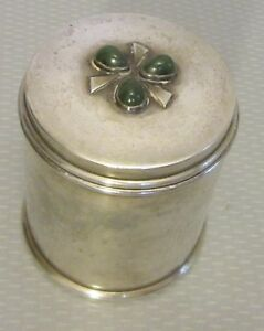 Vtg Hand Made Arts Craft Sterling Silver Green Agate Box Cigarette Vanity 246g