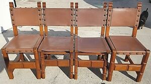 Antique Set Of 4 California Spanish Mission Early 20th Century Leather Chairs