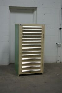 Used Stanley Vidmar 14 Drawer Cabinet Industrial Tool Storage 1642