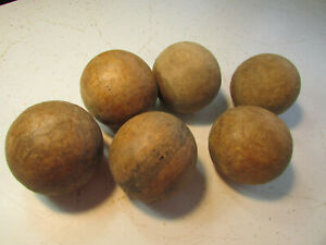 Early 20th C Antique Primitive 6 Pc Wooden Croquet Balls Fading Painted Bands