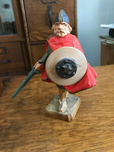 Norwegian Henning Hand Carved Wood Viking Man With Sword And Shield