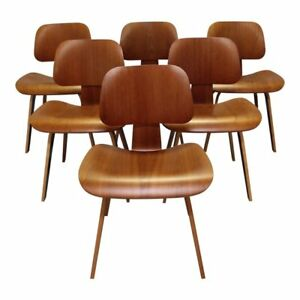Set Of 6 Mid Century Modern Herman Miller Eames Molded Plywood Dining Chairs