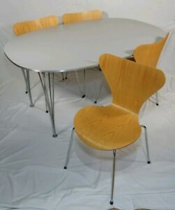 Vintage Danish Modern Dinning Table Chair Set By Fritz Hansen Arne Jacobsen