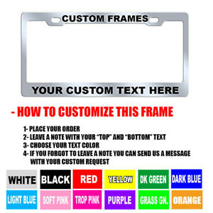 Custom Personalized Chrome Metal 9 Oz High Quality License Plate Frame Tag