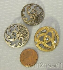 Lot 3 Antique French Pierced Openwork Metal Buttons Silver Gilt Cut Steel 28mm