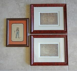 Map Set Of Two Continents Africa Asia And Regional France Costume Framed