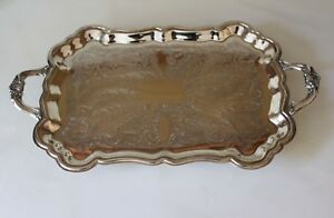 Vintage Fb Rogers Silverplate Handles Footed Butlers Serving Tray Xl