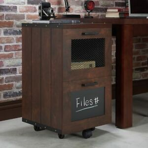 Walnut Industrial 2 drawer Vintage File Cabinet For Files And Documents