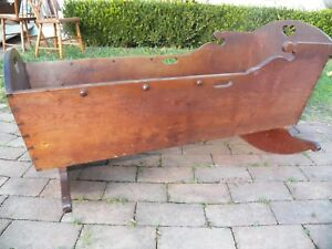 Antique American Cherry Cradle Early 1800 S Hand Dovetailed