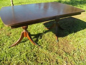 Antique 100 Dining Room Table Kitchen Large Table 4 Leaves Extending Mahogany