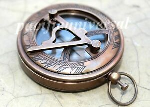 Nautical Sundial Push Button Sundial Compass Lid Maritime Compass Antique Gift