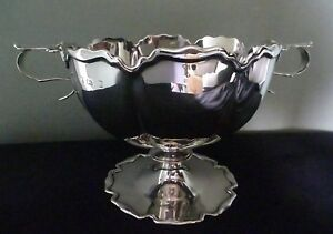 Elkington Co Edwardian English Hallmarked Sterling Silver Pedestal Bowl