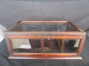 Antique Quatersawn Oak Glass Country Store Counter Top Display Case