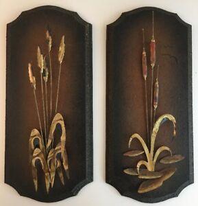 Mid Century Mcm Wall Art Brass Metal Cat Tails Plaque Vtg Retro Pair Brown