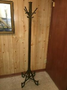 Vtg Art Deco Antique Steel Hat Coat Rack Hook Stand Industrial Hall Tree 1920 S