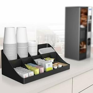 Coffee Condiment Organizer Holder Containers Rack Station Compartment Breakroom