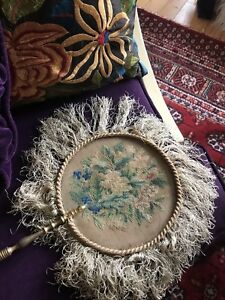 Antique French Petite Point Needlepoint Fire Screens Face Shields Fan Circa 1700