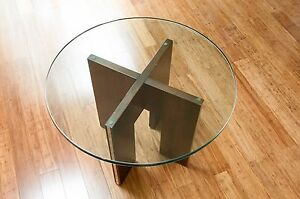 Mid Century Modern Side Table Walnut Base 3 4 Glass Top Vintage