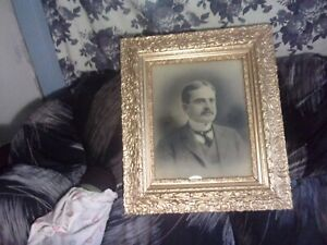 Large Ornate Victorian Picture Frame W Handsome Prominent Man Gilded In Gold