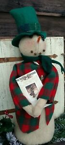 Primitive Snowman Doll Christmas Winter Wool