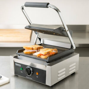 120 Volt Single Electric Panini Sandwich Grill Grooved Top Smooth Bottom