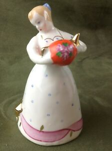 Antique Soviet Porcelain Figurine 1950s Dulevo Girl With A Kettle
