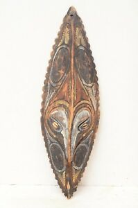Antique Sepik River Png Papua New Guinea Carved Painted Wood Mask Shell Eyes 22