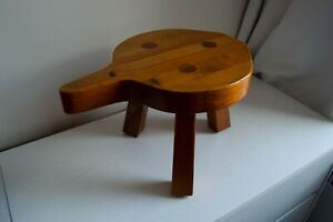 Vintage Wooden Milking Stool 3 Legs And Handle