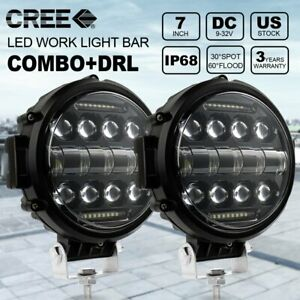 2x 7 Inch 200w Round Led Work Light Combo Drl Driving Headlight Offroad Truck