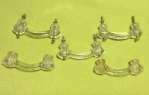 Vintage Drawer Handle Clear Glass 4 Inch Hardware Lot Of 5