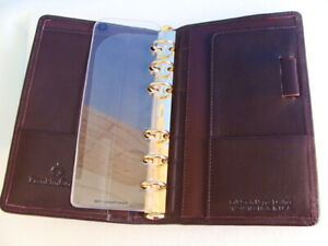 Pocket 5 Rings brown Full grain Leather Franklin Covey Open Planner binder usa