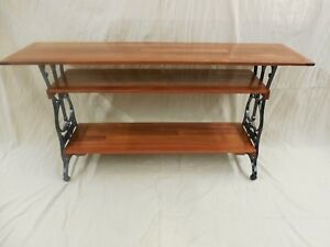 Table Made Of Vintage Sewing Machine Legs And Santos Mahogany Cabriuva