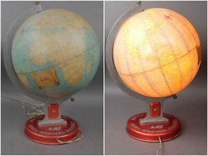Rare Vintage 50s Lai Airlines Italy Advertising Lighted World Globe Italy 12