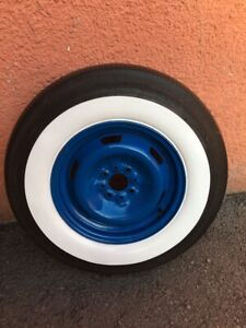 50 S 60 S Vintage Style Fits 7 50 14 Tires Wide White Wall Set4 Hot Rod Rat Rod