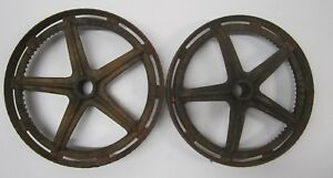 Pair Antique Cast Iron Metal Lawn Mower Industrial Cart Go Kart Wheels Repurpose