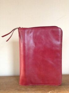 Red Franklin Covey Leather Unstructured Planner Binder Classic 7 Removable Rings