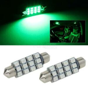 2x Green 12 Smd Car Interior Reading Lights Accessories 12v 578 212 2 211 2