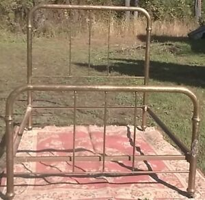 Double Full Size Brass Finish Iron Bed Side Rails Castors Vintage Country Decor