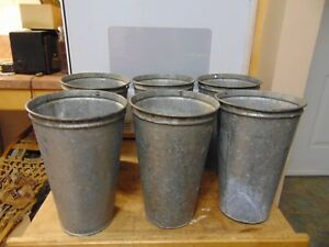 6 Maple Syrup Sap Buckets Old Galvanized Buckets Planters Flowers 649