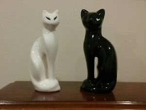 Mid Century Ceramic Cats Pair Gloss Black And White With Green Eyes