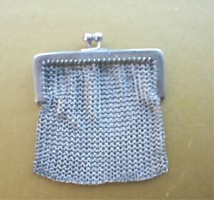 Antique Sterling Tiny Coin Purse Chatelaine Mesh Child