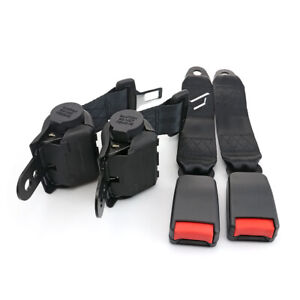 For Ford Retractor Seat Belt Kit 2 Point Buckle Clip Seatbelt Universal Vehicle