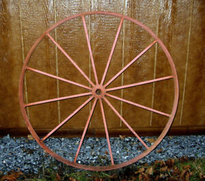 Antique 36 Iron Wagon Tractor Wheel 12 Spoke Home Or Yard Art