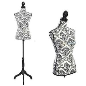 Female Mannequin Torso Dress Form Display Jewelry W Black Tripod Stand Flower
