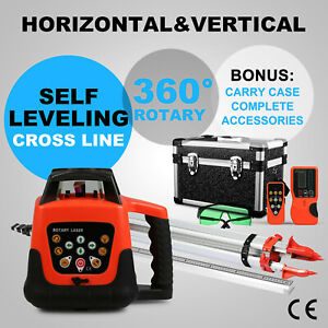 Green Rotary Laser Level 1 65m Tripod 5m Staff Aluminum Rotating Laser Level