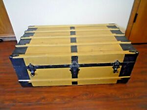 Vintage Steamer Trunk Antique Flat Top Trunk Chest Moran Bros Trunk