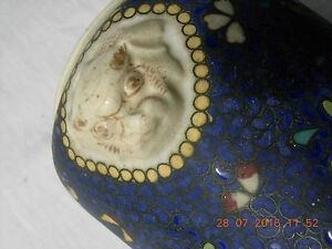 Japanese Meiji Fo Dogs Totai Shippo Cloisonne Porcelain Brush Pot Deep Blue