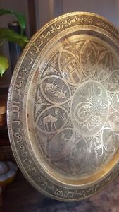 Huge Brass Table Top Tray Engraved